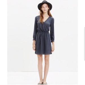 Madewell grey faux wrap silk dress sz 2